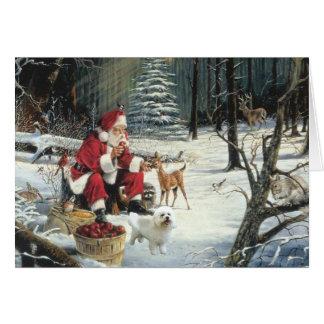 Maderas de Santa de la tarjeta de Navidad de Bicho