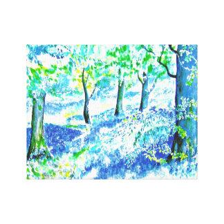 Maderas del Bluebell Impresión En Lienzo