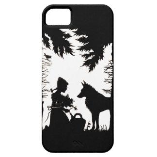 Maderas rojas del lobo de la capa con capucha de iPhone 5 funda