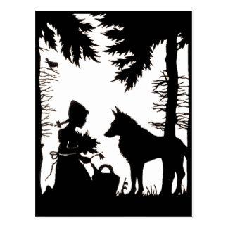 Maderas rojas del lobo de la capa con capucha de postal