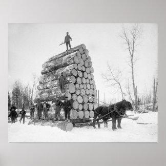 Madereros en el trabajo, 1890. Foto del vintage Póster