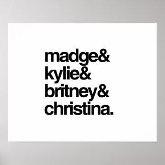 Madge Kylie Britney y Christina Póster