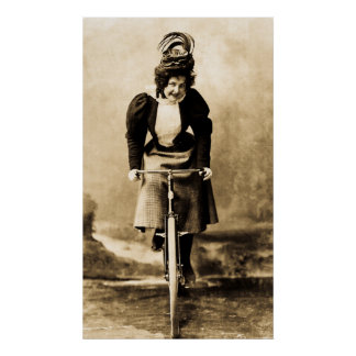 Madge Lessing on a Bike - Vintage 1902 Print