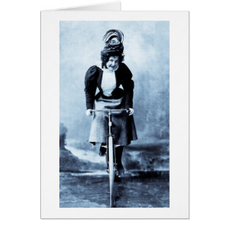 Madge Lessing on Bike - Vintage 1902 - CYan Greeting Card