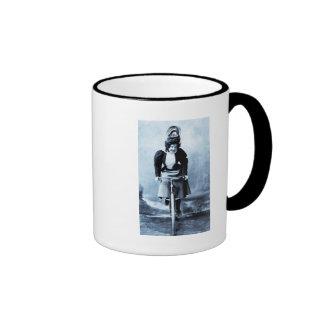 Madge Lessing on Bike - Vintage 1902 - CYan Mug
