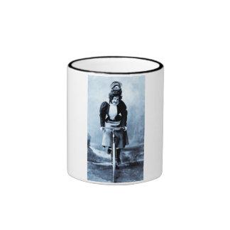 Madge Lessing on Bike - Vintage 1902 - CYan Mugs