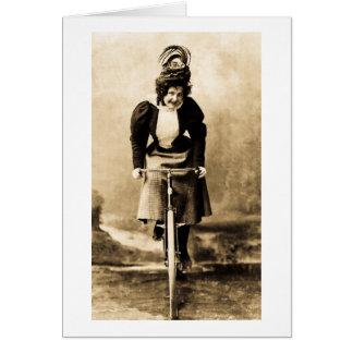 Madge Lessing on Bike Vintage 1902 Greeting Card