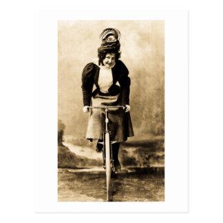 Madge Lessing on Bike Vintage 1902 Postcard