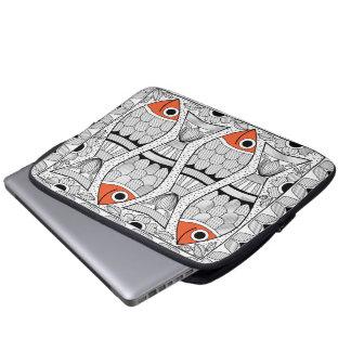 Madhubani 4 fish laptop computer sleeve