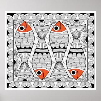 Madhubani 4 Fish Poster
