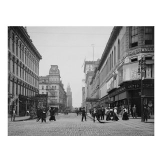 Madison Ave from Summit St, Toledo, OH early 1900s Print