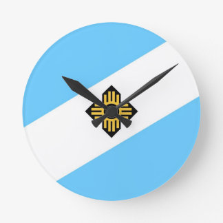 Madison city flag  Wisconsin state America country Round Wallclocks
