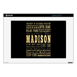 Madison City of Wisconsin Typography Art Skin For Laptop