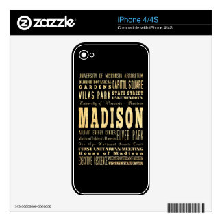 Madison City of Wisconsin Typography Art Skins For The iPhone 4
