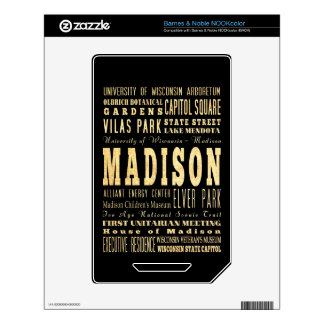 Madison City of Wisconsin Typography Art NOOK Color Decal