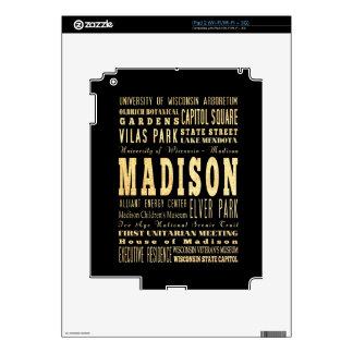 Madison City of Wisconsin Typography Art iPad 2 Decals