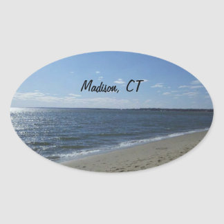 Madison CT Connecticut Hammonasset Beach Oval Sticker