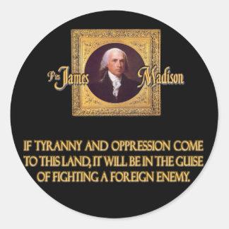 Madison en enemigos extranjeros pegatina redonda