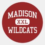 Madison - gatos monteses - centro - Madison la Etiquetas Redondas