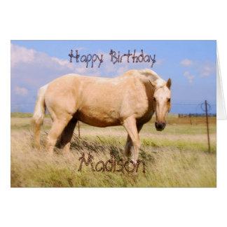 Madison Happy Birthday Palomino Horse Card