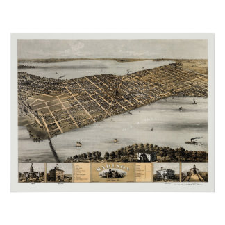 Madison, mapa panorámico de los WI - 1867 Póster