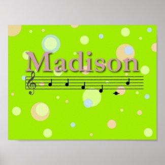 Madison Musical Name Nursery Room Poster print