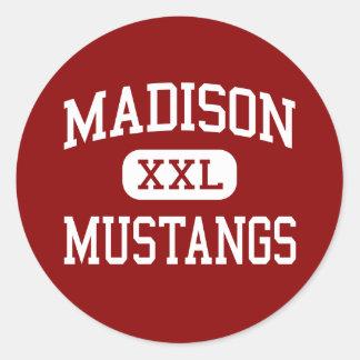 Madison - mustangos - escuela secundaria - Miami l Etiqueta Redonda