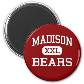 Madison - osos - joven - Madison Indiana Imán Redondo 5 Cm