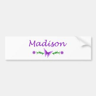 Madison (Purple Butterfly) Car Bumper Sticker