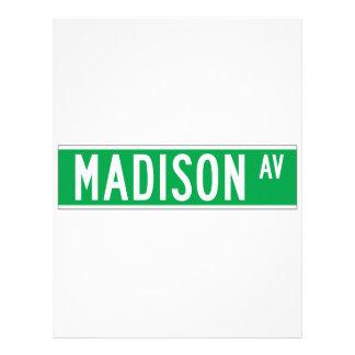 Madison sistema de pesos americano, placa de calle plantillas de membrete
