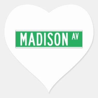 Madison sistema de pesos americano, placa de calle pegatina en forma de corazón