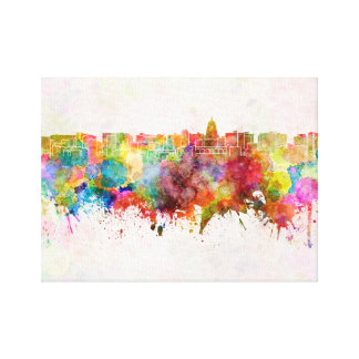 Madison skyline in watercolor background canvas print