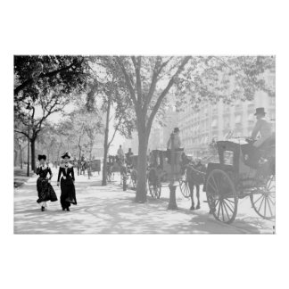 Madison Square Cab Stand New York City 1900 Poster