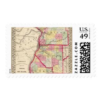 Madison, St Clair, condados de Monroe Timbre Postal