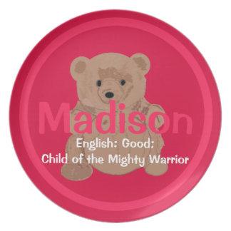 Madison Teddy Bear Plate
