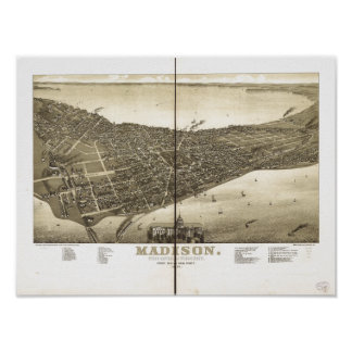 Madison WI 1885 Antique Panoramic Map Posters