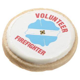 Madison, WI Flag Volunteer Firefighter Cross Round Shortbread Cookie