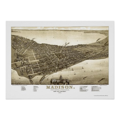 Madison, WI Panoramic Map - 1885b Posters