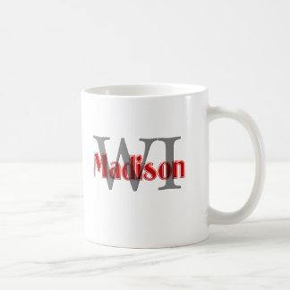 madison wi red classic white coffee mug
