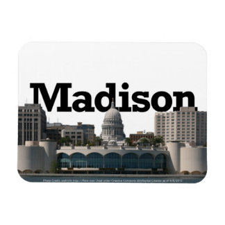 Madison WI Skyline with Madison in the Sky Rectangular Photo Magnet