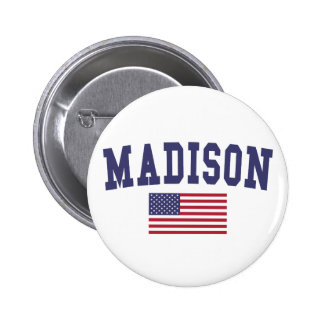 Madison WI US Flag Button