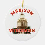 Madison, Wisconsin Adorno Navideño Redondo De Cerámica