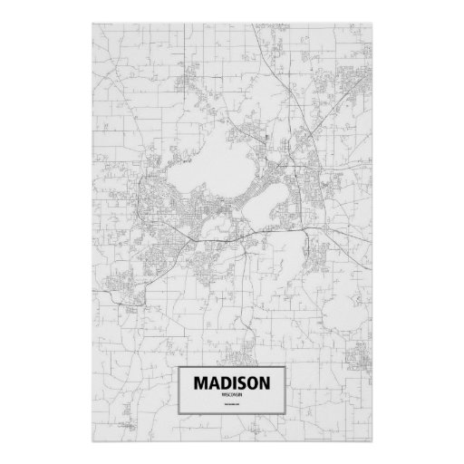 Madison, Wisconsin (black on white) Posters
