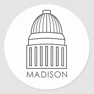 Madison Wisconsin Capitol Building Classic Round Sticker