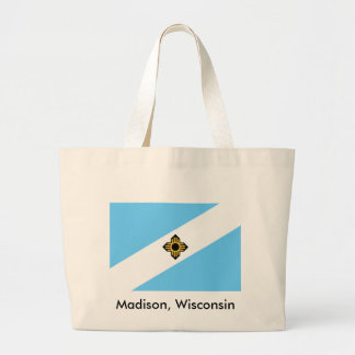 Madison, Wisconsin Flag Reusable Shopping Tote Bag
