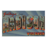 Madison, Wisconsin - Large Letter Scenes Poster