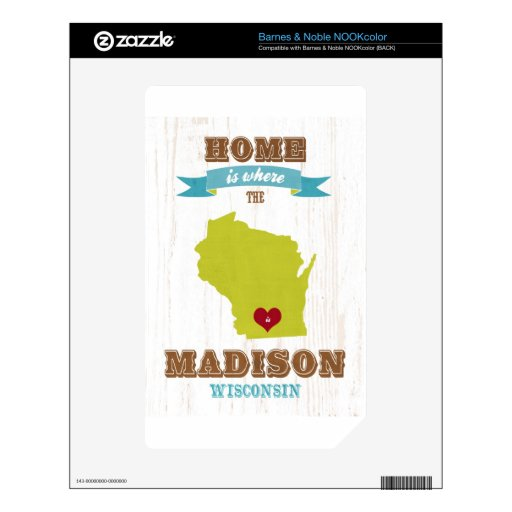 Madison, Wisconsin Map – Home Is Where The Heart NOOK Color Skin