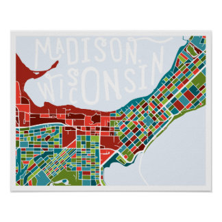 Madison Wisconsin Map Poster