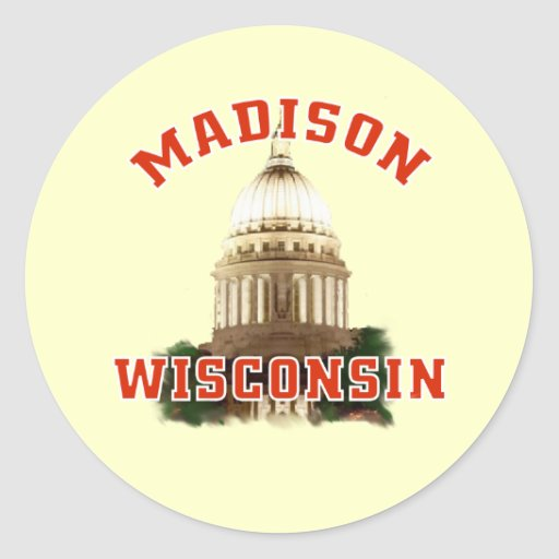 Madison,Wisconsin Round Stickers