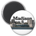 Madison Wisconsin Skyline with Madison in the Sky 2 Inch Round Magnet